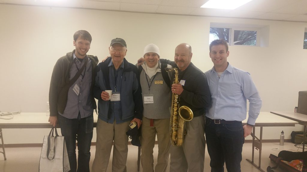 Justin (Bob's grandson working with Theo), Bob, Theo, Michael Brockman (professor of saxophone at UW), and Chadd at a Theo Wanne Mouthpiece clinic & Sax Repairman expo in October 2015 put on by Saxophone Insights.